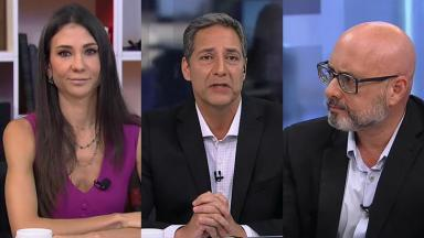 Amanda Klein, Luís Ernesto Lacombe e Alessandro Loiola no programa Opinião no Ar