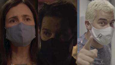 Adriana Esteves (à direita), Murilo Benício (ao centro) e Thiago Martins (à esquerda) utilizando máscaras em montagem do NaTelinha