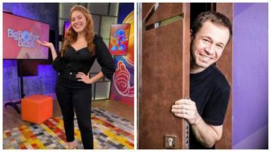 Foto um: Ana Clara está no estúdio da #RedeBBB; foto dois: Tiago Leifert abre a porta da casa do BBB21