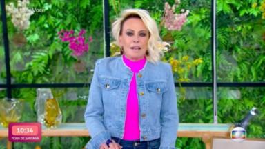 Ana Maria Braga de jaqueta jeans e blusa rosa por baixo