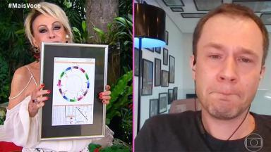 Ana Maria Braga mostra presente para Tiago Leifert, que se emociona, durante videochamada