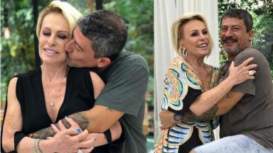 Ana Maria Braga abraçando Tom Veiga