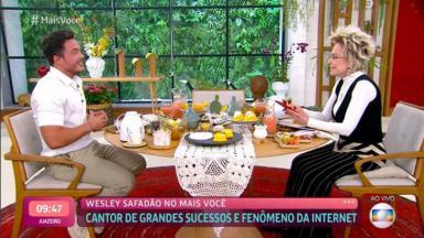 Ana Maria toma café com Wesley Safadão no Mais Você