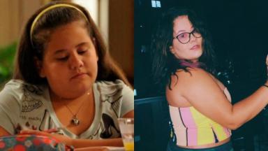 À esquerda, Ana Karolina Lannes aos 12 anos como Ágatha em Avenida Brasil; à direita, aos 20, a atriz posa para foto