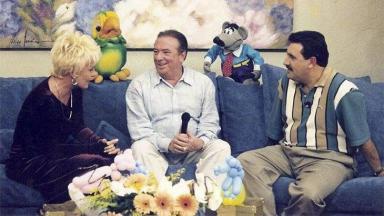 Ana Maria Braga, Raul Gil e Ratinho, com Louro José e Xaropinho, na Record