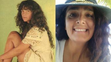 Andrea Richa aos 26, como Muda em Pantanal, e atualmente, aos 56, longe das novelas desde Mandacaru, de 1997