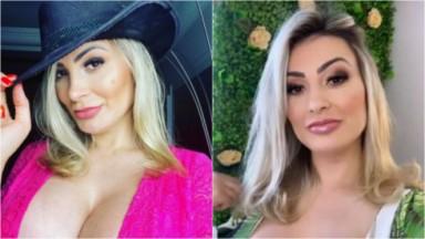 Andressa Urach com uma blusa decotada, segurando a aba de um chapéu na cabeça e maquiada e com os cabelos soltos
