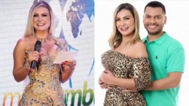 Andressa Urach na apresentação do concurso Miss Bumbum e sendo abraçada pelo ex-marido, Thiago Lopes