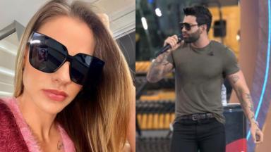 À esquerda, Andressa Suita posa para selfie; à direita, Gusttavo Lima na primeira live após anúncio da separação