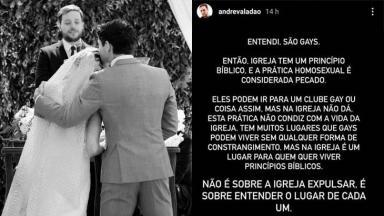 Pastor André Valadão reprova gays na igreja