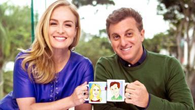 Angélica e Luciano Huck brindam com caneca no estúdio do Vídeo Show