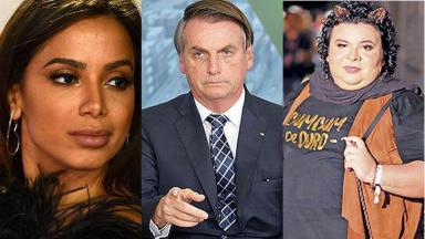 Fotomontagem Anitta, Bolsonaro e Rainha Mattos
