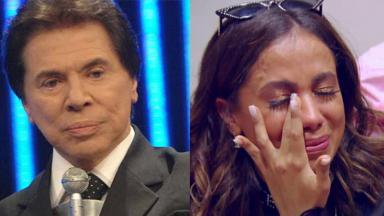 Silvio Santos (à esquerda) e Anitta (à direita) em foto montagem