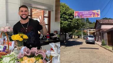 Arthur Picoli cercado de flores e presentes. Na foto ao lado, uma faixa na rua em Conduru