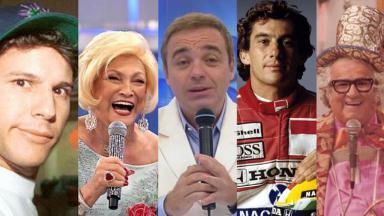 Tela dividida com vários famosos mortos que comoveram o Brasil