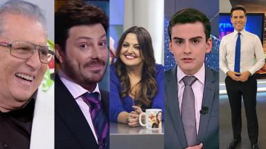 Carlos Alberto de Nóbrega, Danilo Gentili, Fabíola Reipert, Dudu Camargo e Luiz Bacci