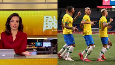 Apresentadora do Fala Brasil (à esquerda) e jogadores do Brasil (à direita)