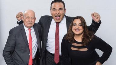 Renato Lombardi, Reinaldo Gottino e Fabíola Reipert posando para foto