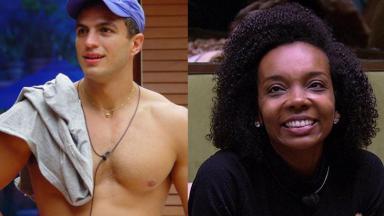 Bambam sem camisa, à esquerda, e Thelma Assis sorrindo, à direita, em montagem do NaTelinha
