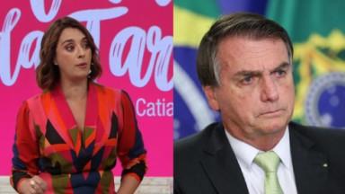 Cátia Fonseca sentada no Melhor da Tarde e Bolsonaro em Brasília com cara de poucos amigos