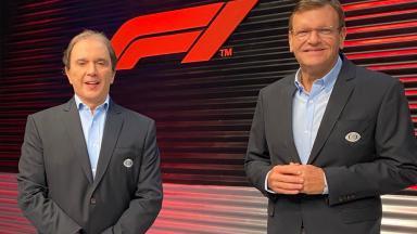 Reginaldo Leme em transmissão ao vivo de Fórmula 1 na Band