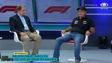 Reginaldo Leme e Nelson Piquet no estúdio do Show do Esporte, na Band
