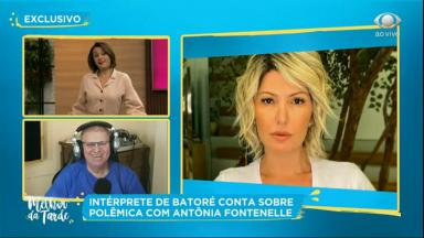 Cátia Fonseca entrevistando Batoré, que criticou Antônia Fontenelle