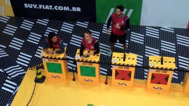 Pocah, Sarah e Rodolffo durante prova do líder no BBB21