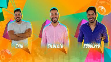 Arte do paredão do BBB21 que mostra em sequência as fotos oficiais de Caio, Gilberto e Rodolffo