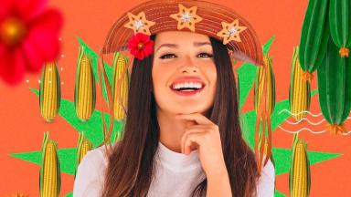 Arte em que aparece Juliette com chapéu da cangaceiro e milhos no fundo