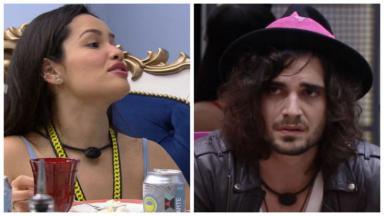 Foto um: Juliette está no quarto do líder; foto dois: Fiuk está na sala do BBB21