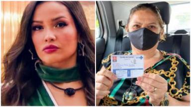 Foto 1: Juliette em frente ao espelho do camarim do BBB21; foto 2: Dona Fátima está dentro de um carro mostrando o cartão de vacinação para a foto