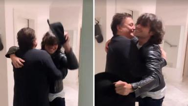 Montagem de Fábio Jr. pulando e abraçando Fiuk