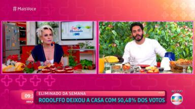 """De um lado, Ana Maria Braga apresentando o """"Mais Você"""" e de outro Rodolffo eliminado do BBB21"""