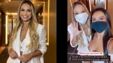 Sarah está no corredor do hotel com a irmã de Rodolffo; as duas estão de máscara