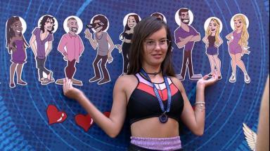 Thaís aponta caricatura de Sarah e Gilberto no painel tático do BBB21