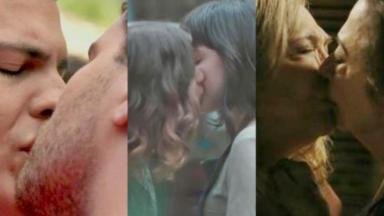 Montagem com as fotos de Felix e Niko, Samantha e Lica, Estela e Teresa