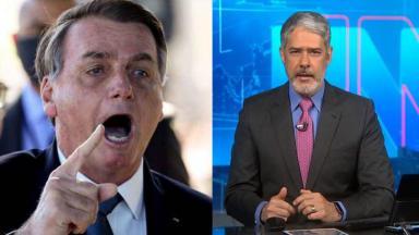Jair Bolsonaro irritado e William Bonner apresentando o JN