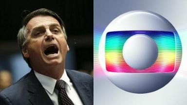 Jair Bolsonaro gritando (à esquerda) e logotipo da Globo (à direita) em foto montagem
