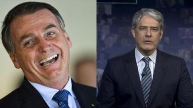 Montagem de Jair Bolsonaro rindo e William Bonner no JN