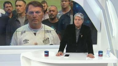 José Luiz Datena acompanha entrevista de Jair Bolsonaro em Santos