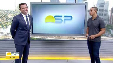 Rodrigo Bocardi e Thiago Oliveira no Bom Dia São Paulo