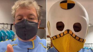 Montagem em que aparece Boninho com a roupa de Dummy e em seguida com a máscara do personagem