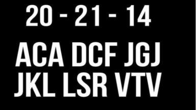 """Foto com o fundo preto com o logo do BBB. Na imagem há os números """"20 - 21 – 14"""" seguido das letras: """"ACA DCF JGJ JKL LSR VTV"""""""