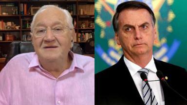 Boris Casoy no Conversa com Bial; Bolsonaro sério
