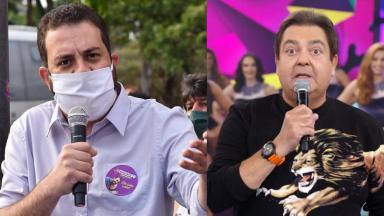Guilherme Boulos e Faustão em foto montagem