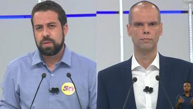 Guilherme Boulos (PSOL) e Bruno Covas (PSDB) em debate na Band