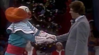 Bozo e Silvio Santos no Natal do SBT, em 1981