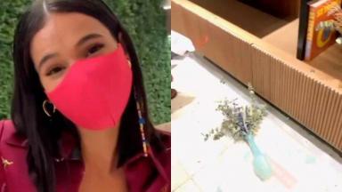 Bruna Maquezine em selfie e o vaso quebrado no chão