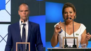 Joice Hasselmann ameaça xingar Bruno Covas em debate